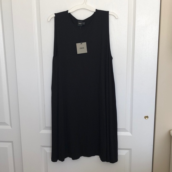 298ad0d3a051d1 ASOS Dresses | Nwt Black Sleeveless Trapeze Dress Size 14 | Poshmark